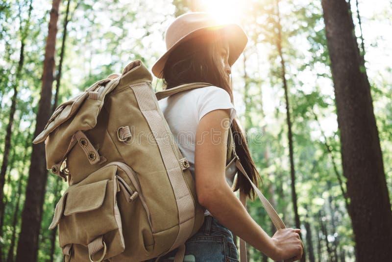 Opinión trasera sobre mujer joven linda con el sombrero, la mochila y el mapa de ubicación a disposición entre árboles en bosque imagenes de archivo