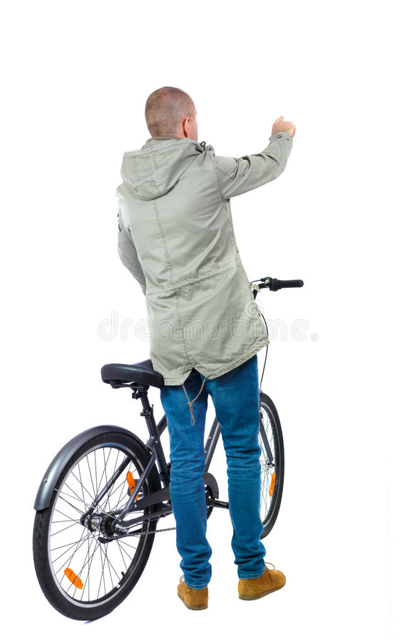 Opinión trasera un hombre con una bicicleta fotografía de archivo