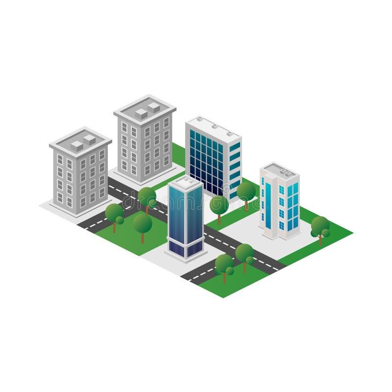 Opinión tridimensional isométrica de Megapolis 3d de la ciudad Colección de casas, de rascacielos, de edificios, construidos y de ilustración del vector