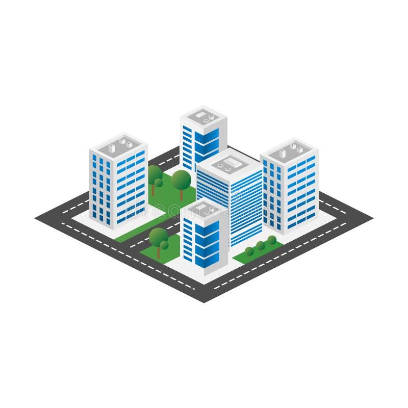 Opinión tridimensional isométrica de Megapolis 3d de la ciudad Colección de casas, de rascacielos, de edificios, construidos y de libre illustration