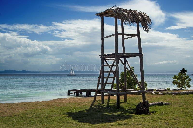 Opinión tropical de la playa en Cayo Levantado, República Dominicana fotografía de archivo libre de regalías