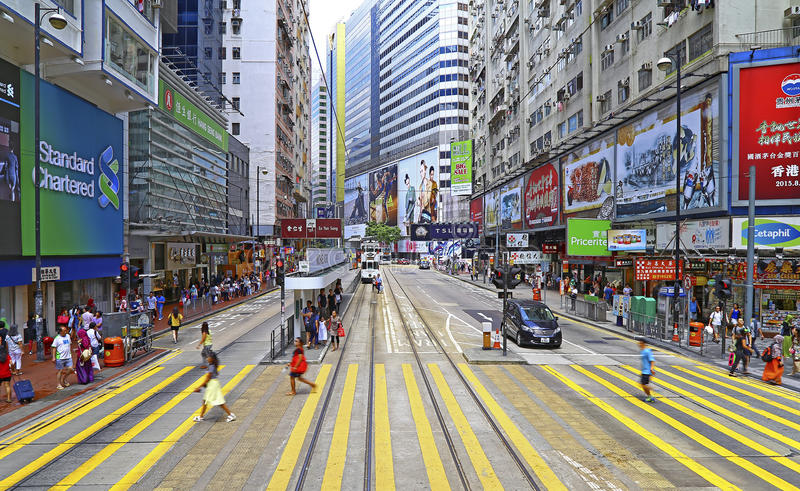 Opinión urbana de la bahía del terraplén, Hong-Kong imágenes de archivo libres de regalías