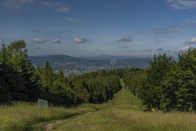 Opinión verde del verano de la colina de Javorovy en día caliente agradable imagen de archivo libre de regalías