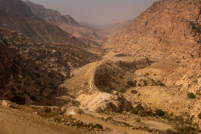 Opinión Wadi Dana, Jordania foto de archivo