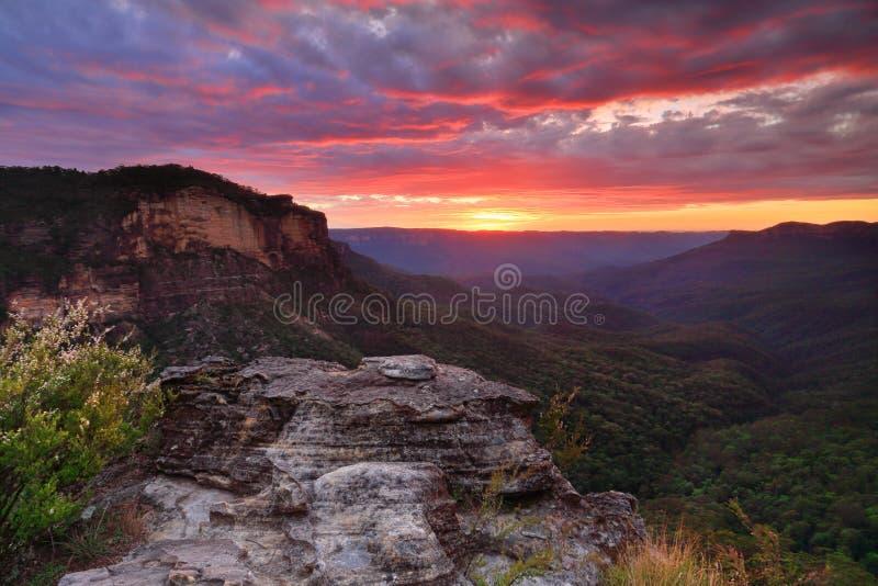 Opiniónes sobre Jamison Valley Blue Mountains Australia foto de archivo