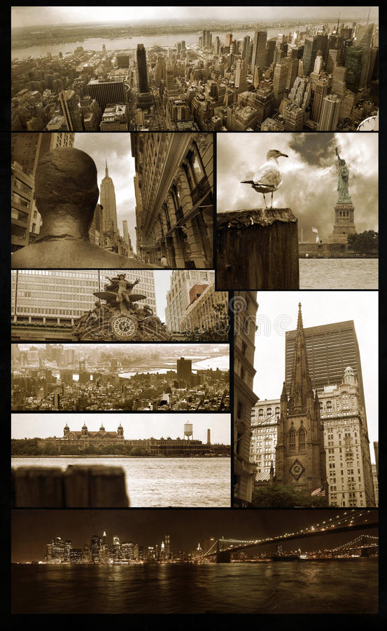 Opiniões de Manhattan no grunge imagens de stock royalty free