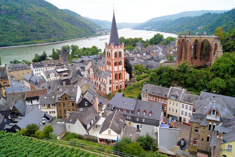 Opiniões de rio de Rhine foto de stock