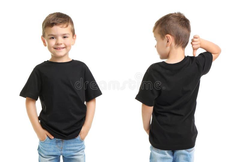 Opiniões dianteiras e traseiras o rapaz pequeno no t-shirt preto fotografia de stock