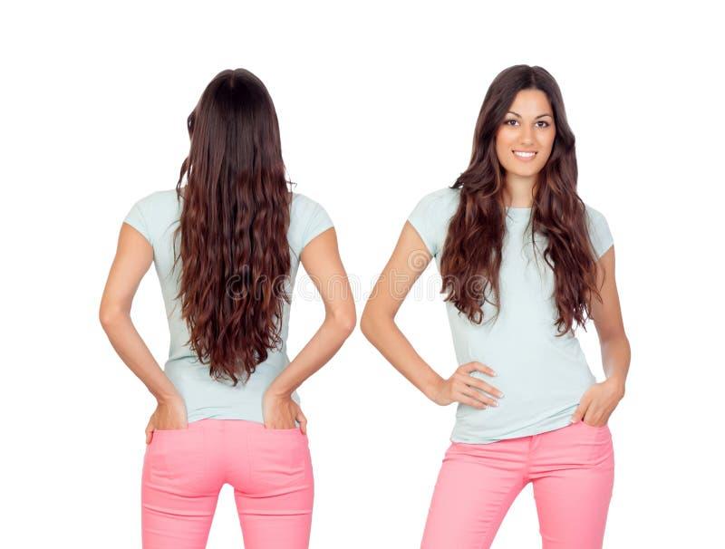 Opiniões dianteiras e traseiras uma menina do teenger com cabelo longo imagem de stock royalty free
