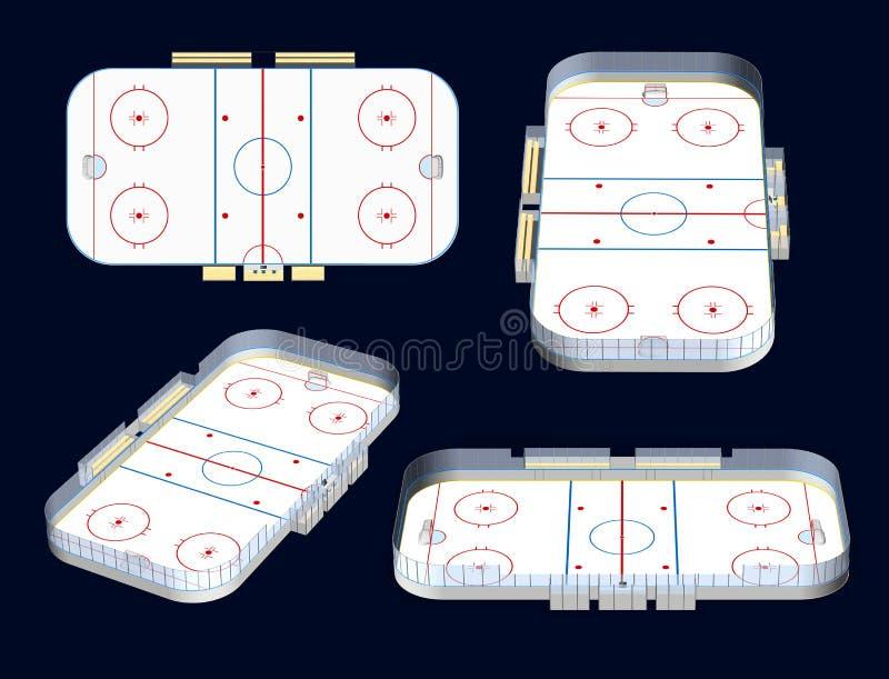 Opiniões do estádio 3D do hóquei em gelo ilustração do vetor