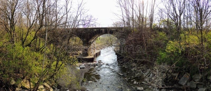 Opiniões do rio, da árvore e do parque em torno de Bean Creek Garfield Park em Indianapolis Indiana foto de stock