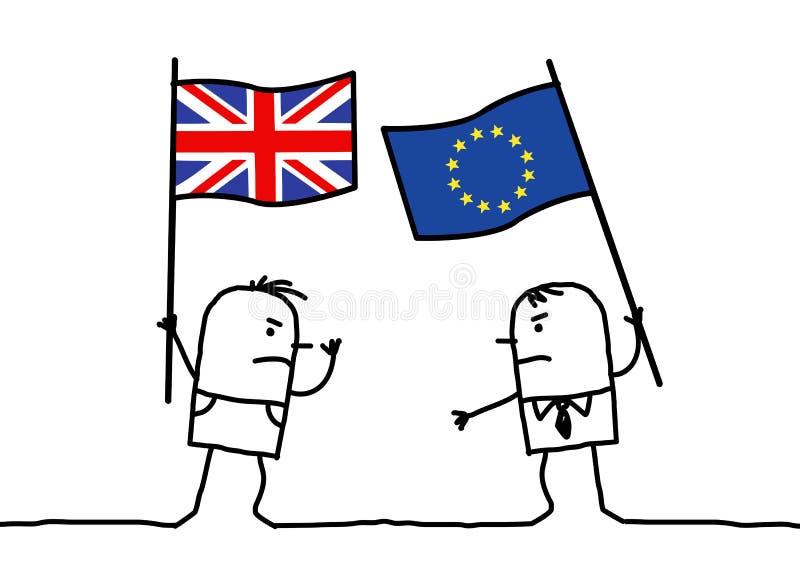 Opiniões dos povos dos desenhos animados - inglês e europeu ilustração do vetor