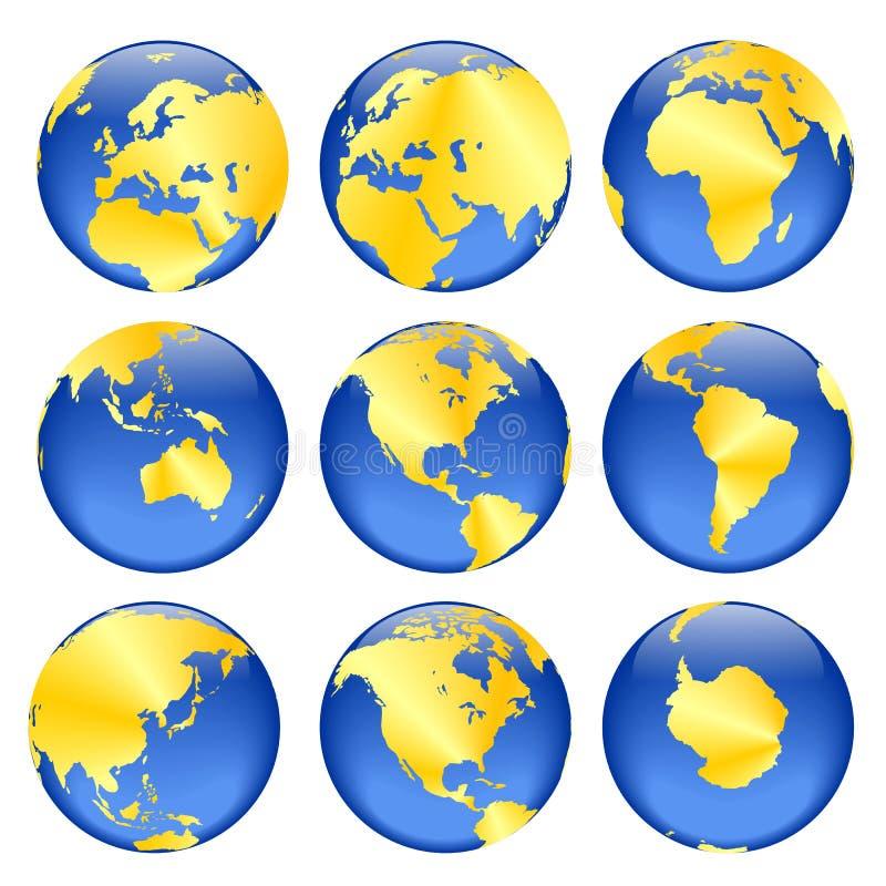 Opiniões douradas do globo ilustração stock