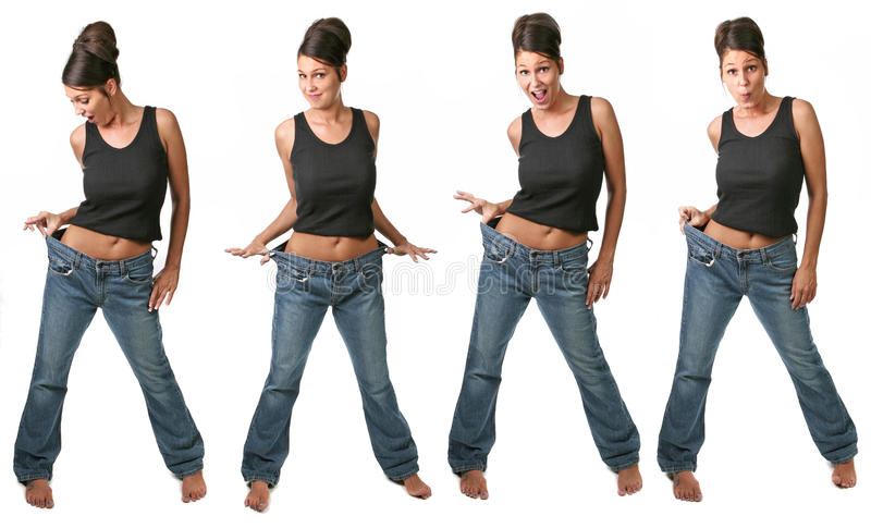 Opiniões múltiplas uma mulher de dieta fotos de stock
