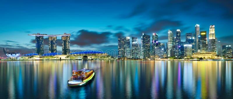 Opini?n del panorama del horizonte del paisaje urbano de Singapur fotografía de archivo