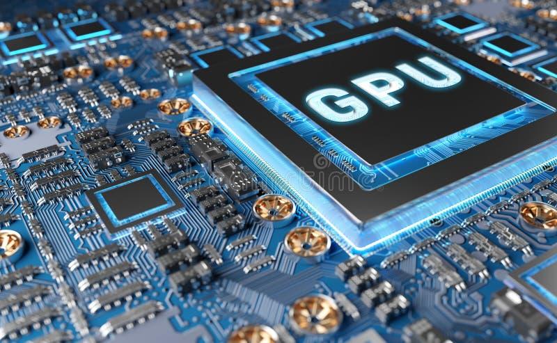 Opini?n del primer de una tarjeta moderna de GPU con la representaci?n del circuito 3D ilustración del vector