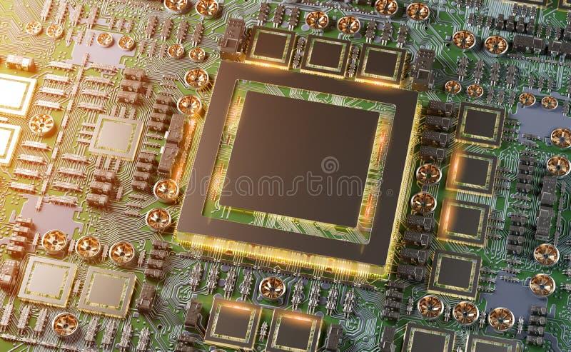 Opini?n del primer de una tarjeta moderna de GPU con la representaci?n del circuito 3D libre illustration