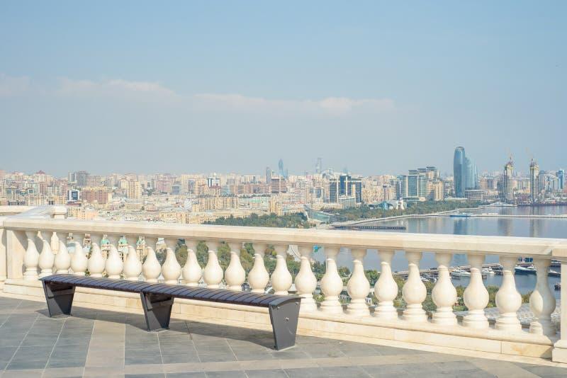 Opini?n panor?mica a?rea de Baku de Baku, Azerbaijan fotografía de archivo