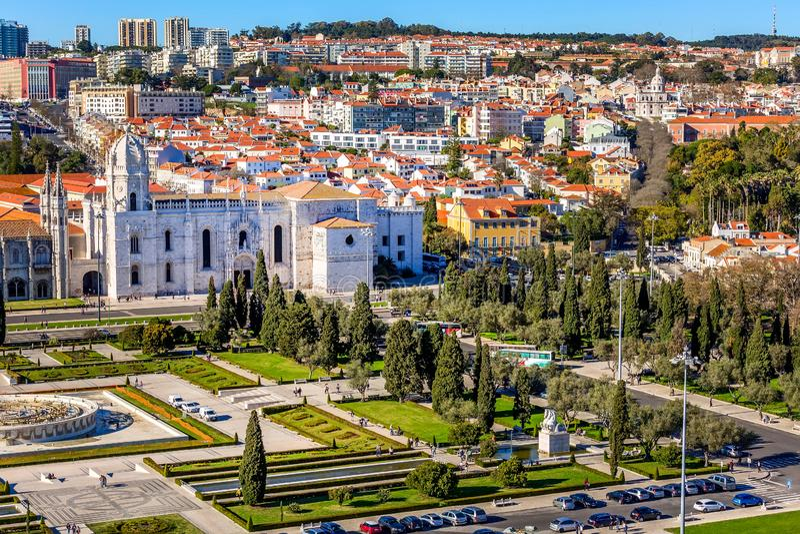Opini?n a?rea del monasterio de Lisboa, Portugal Jeronimos fotografía de archivo libre de regalías