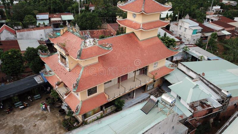 Opini?n a?rea Khanh Tan Pagoda imagen de archivo