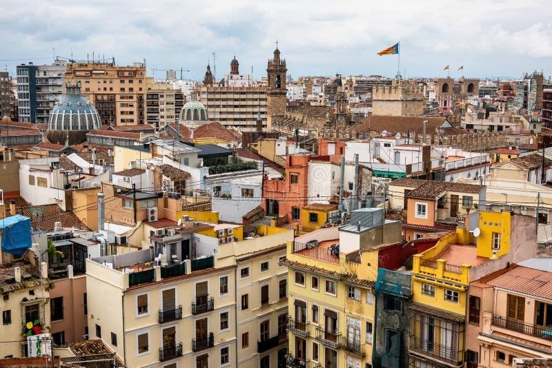 Opini?n sobre los cuadrados, edificios, calles de Valencia en Espa?a imagenes de archivo