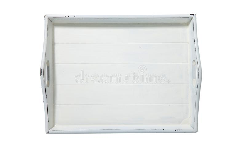 Opini?n superior de la bandeja blanca Bandeja de madera del vintage con las manijas de madera aisladas en el fondo blanco foto de archivo