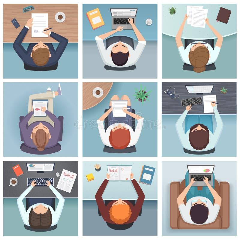 Opini?n superior de la gente Opinión superior de la gente del vector de espacio del funcionamiento del escritorio de los caracter libre illustration