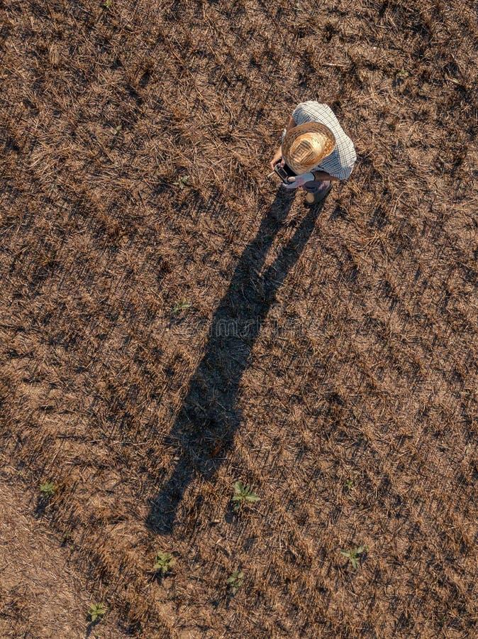 Opini?n superior el granjero de sexo masculino que vuela un abej?n en campo foto de archivo