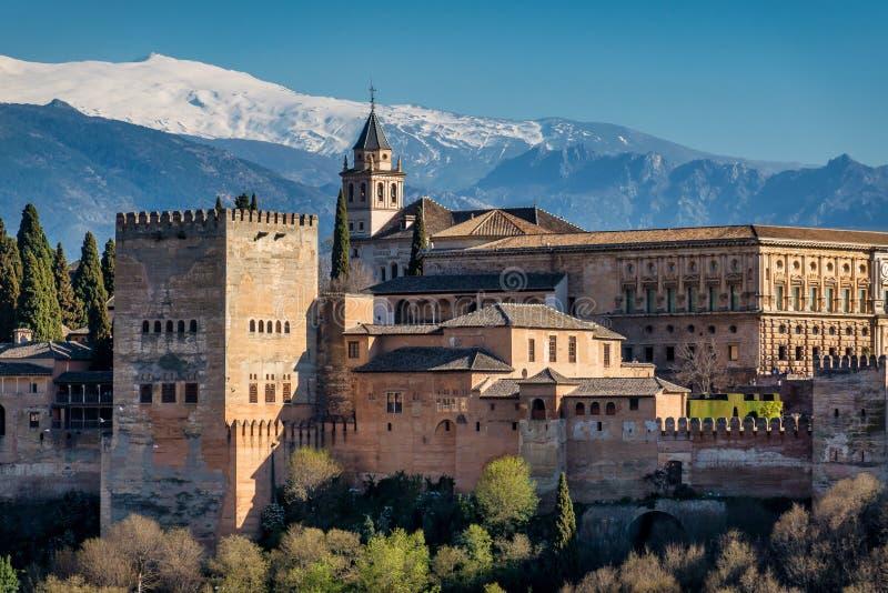 Opini?o Alhambra Palace em Granada, Espanha em Europa fotografia de stock