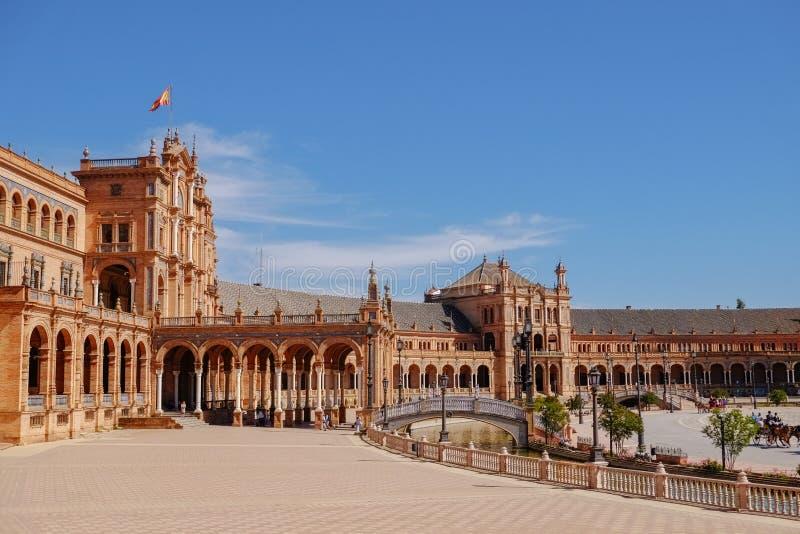Opini?o da paisagem Plaza de Espana Sevilha Spain fotografia de stock