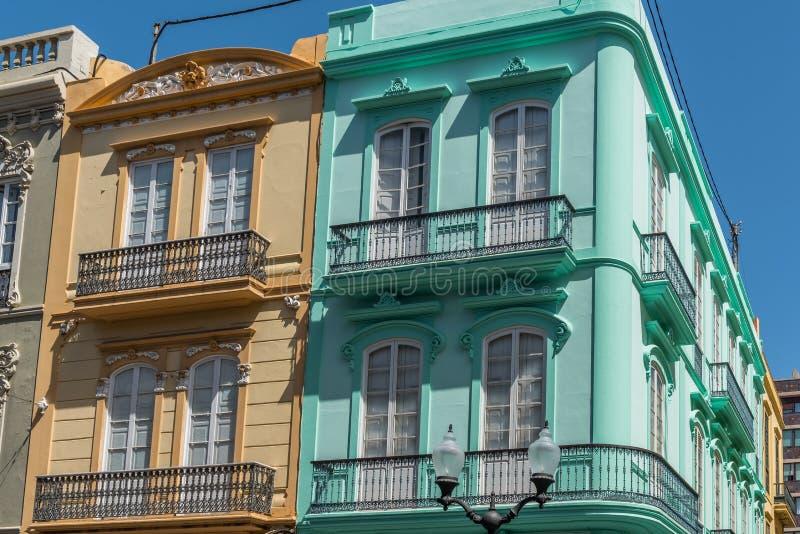 Opini?o da rua Vista da fachada da construção, Las Palmas de Gran Canaria, Espanha imagem de stock royalty free