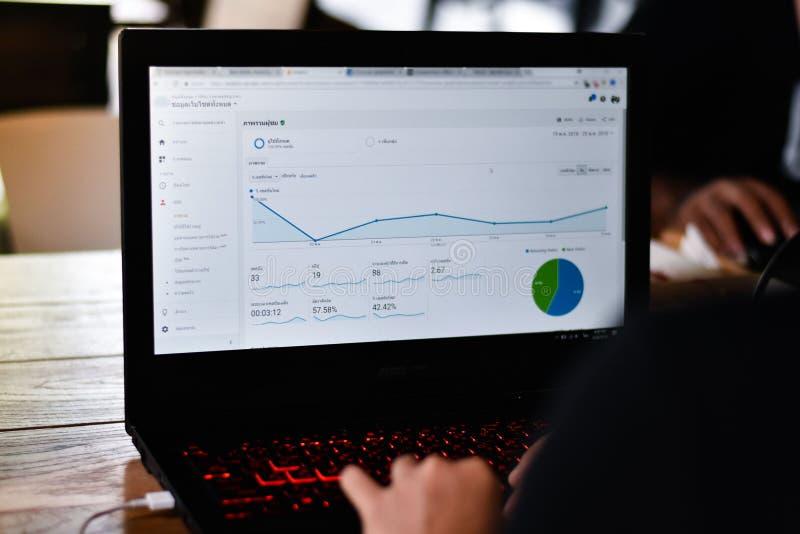 Opini?o do Webmaster um gr?fico do relat?rio de Google Analytics imagens de stock