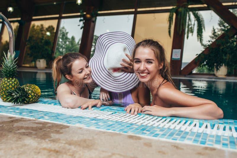Opini?o superior tr?s nadadores f?meas que sentam-se em uma piscina que descansa ap?s a forma??o e a tagarelice fotos de stock