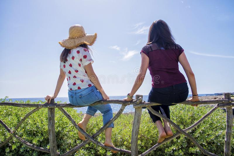 Opini?o traseira a jovem mulher dois que senta-se em uma cerca com os bra?os aumentados contra o c?u azul imagens de stock royalty free