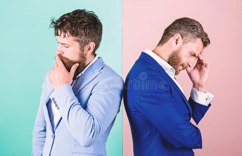 Opinion difference. Businessmen thoughtful face thinking about business problem. Business in trouble concept. Business. Misunderstanding. Business team work on royalty free stock images