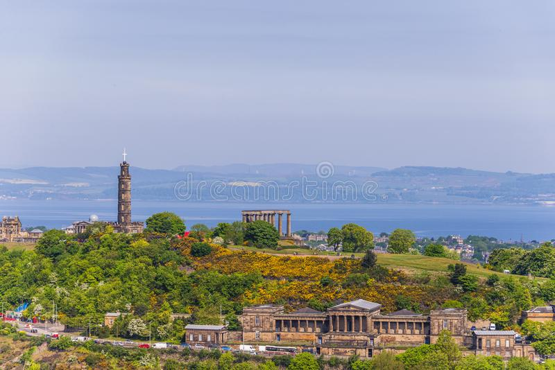 Opiniones aéreas de Edimburgo fotografía de archivo