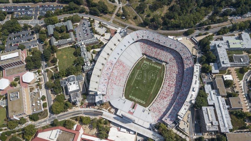 Opiniones aéreas Sanford Stadium imagenes de archivo