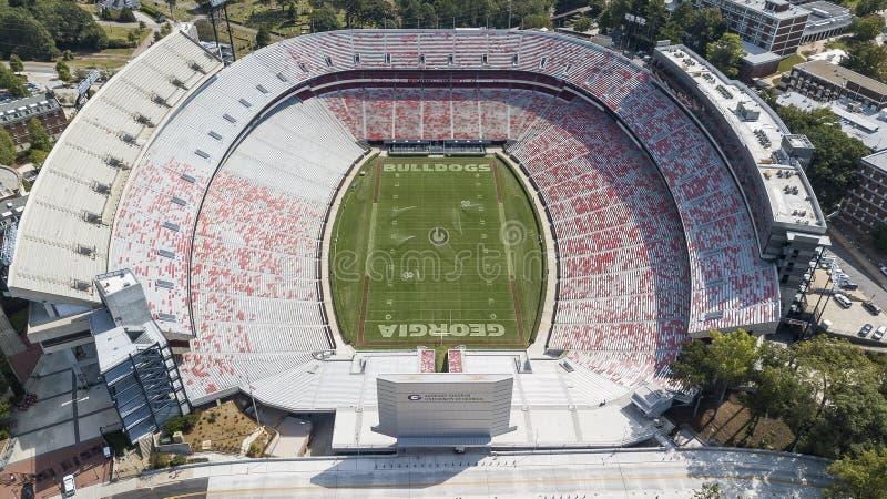 Opiniones aéreas Sanford Stadium foto de archivo