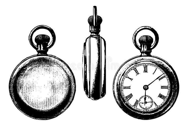 Opiniones antiguas del gráfico tres del reloj de bolsillo ilustración del vector