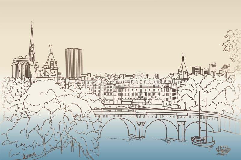 Opiniones de la calle en la ciudad vieja Opinión del paisaje urbano de París del Louvre libre illustration
