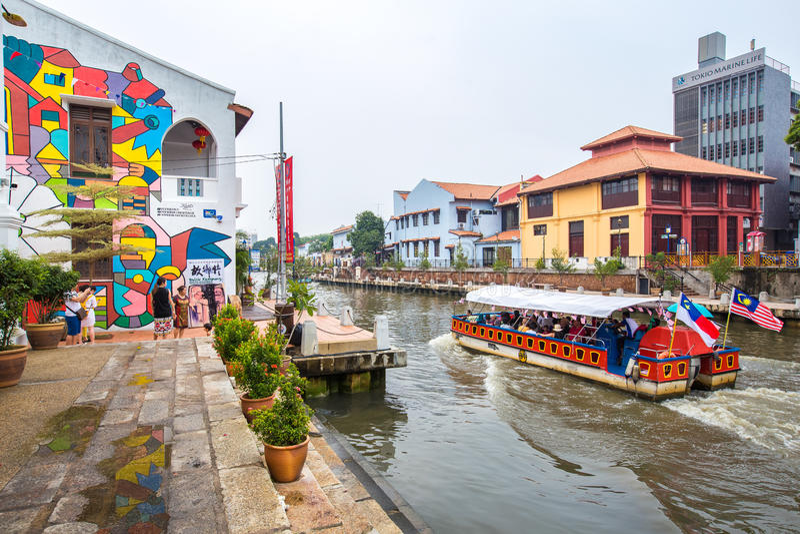Opiniones de la ciudad de Malaca, Malasia foto de archivo libre de regalías