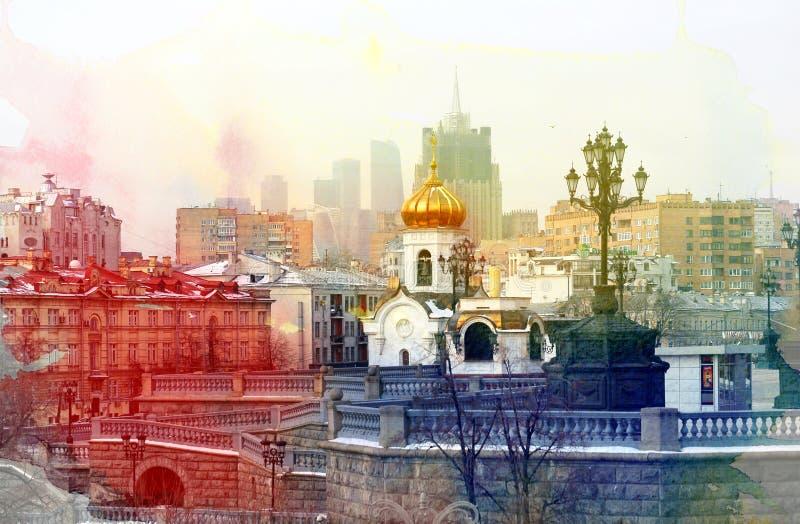 Opiniones de las fotos en el centro de Moscú imagen de archivo