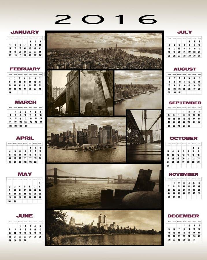 2016 opiniones de Manhattan del calendario imagen de archivo
