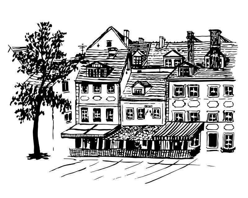 Opiniones del paisaje urbano del fondo de las casas viejas hermosas en Riga libre illustration