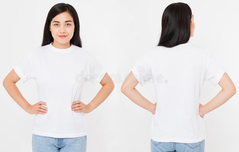 Opiniones delanteras y traseras la mujer atractiva japonesa asiática joven en camiseta elegante en el fondo blanco Mofa para arri foto de archivo libre de regalías