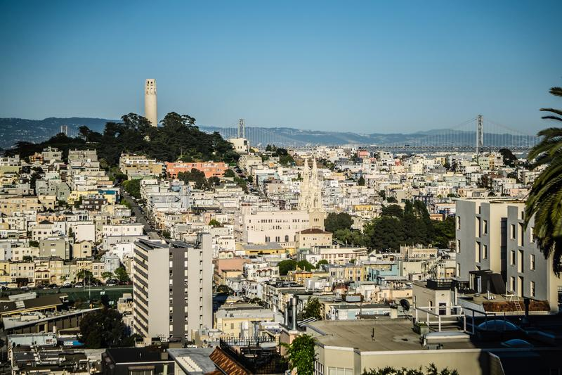 Opiniones superiores de la ciudad de la calle del lombardo en San Francisco California imágenes de archivo libres de regalías