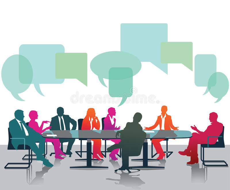 Opinions and discussions. Message bubbles over the heads of business professionals seated at conference table