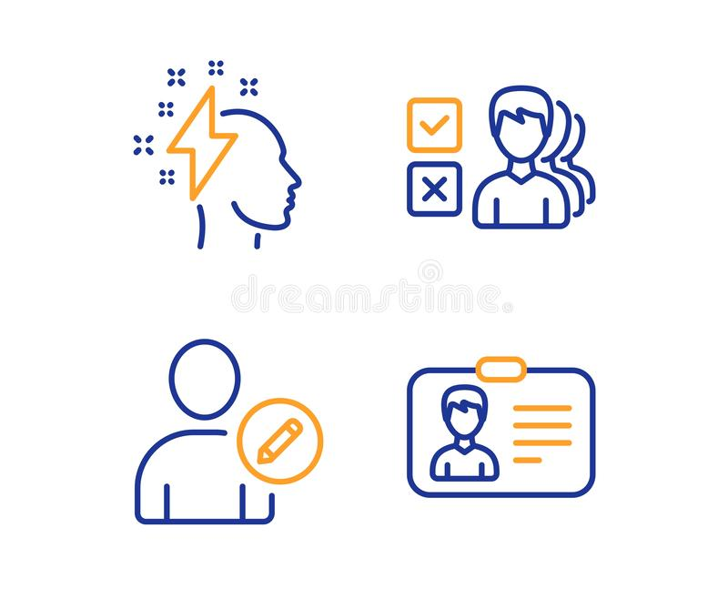 Opiniuje, Redaguje u?ytkownika ustawiaj?cego Brainstorming ikon, i Karta identyfikacyjna znak wektor ilustracji