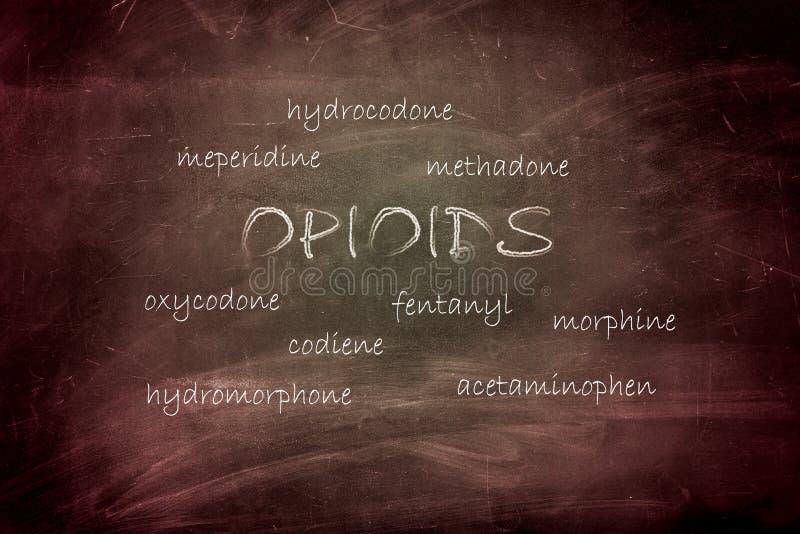 Opioid av olika sorter som är skriftliga på den svarta svart tavlan arkivbild