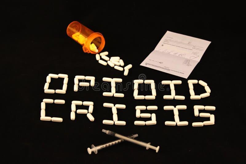 Opioid nauwkeurig beschreven Crisis, voorschrift, pillen en naalden royalty-vrije stock foto's